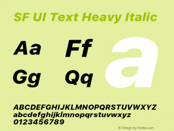 SF UI Text Heavy Italic 11.0d59e2 Font Sample