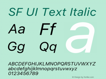 SF UI Text Italic 11.0d59e2 Font Sample