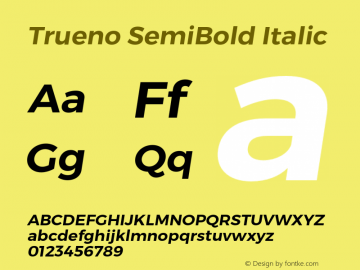 Trueno SemiBold Italic Version 3.001 Font Sample