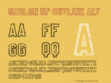 Sablon Up Outline Alt Unknown Font Sample