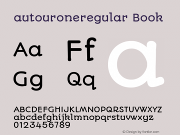 autouroneregular Book Version 1.002 Font Sample