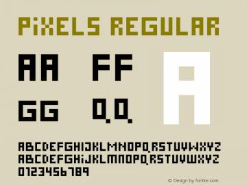 Pixels Regular Macromedia Fontographer 4.1 1998-10-27 Font Sample