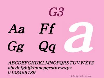 系统字体 粗斜体 G3 Version 1.00 October 18, 2015, initial release Font Sample