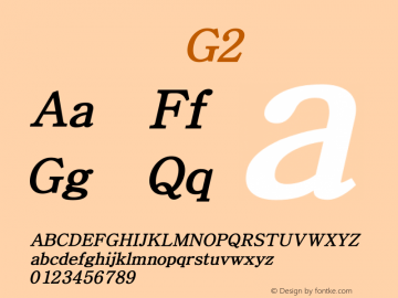 系统字体 粗斜体 G2 Version 1.00 October 18, 2015, initial release Font Sample