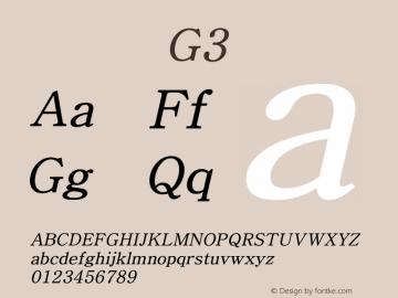系统字体 斜体 G3 Version 1.00 October 18, 2015, initial release Font Sample