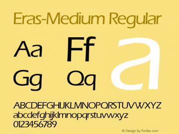 Eras-Medium Regular 0.0 Font Sample