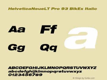 HelveticaNeueLT Pro 93 BlkEx Italic Version 1.000;PS 001.000;Core 1.0.38图片样张