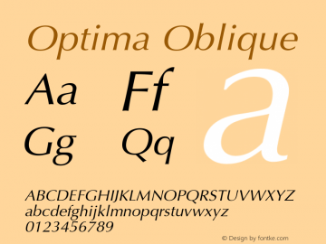 Optima Oblique Version 001.004 Font Sample