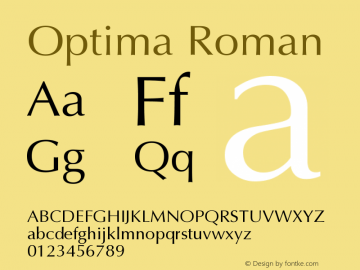 Optima Roman Version 001.004 Font Sample