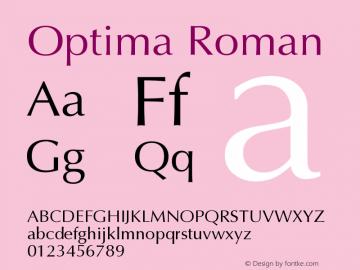 Optima Roman Version 001.004 Font Sample