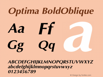 Optima BoldOblique Version 001.005 Font Sample