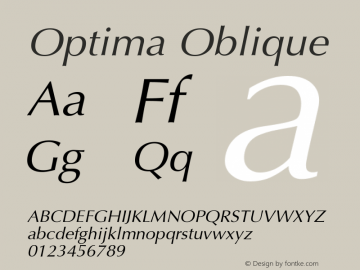 Optima Oblique Version 001.005 Font Sample