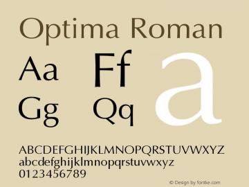 Optima Roman Version 001.007 Font Sample