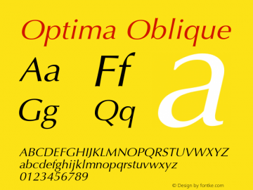 Optima Oblique Version 001.007 Font Sample