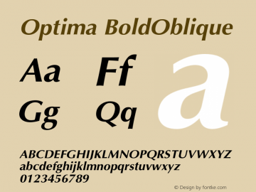 Optima BoldOblique Version 001.007 Font Sample