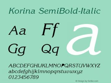 Korina SemiBold-Italic Version 001.000 Font Sample