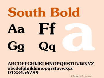 South Bold 1.000 Font Sample