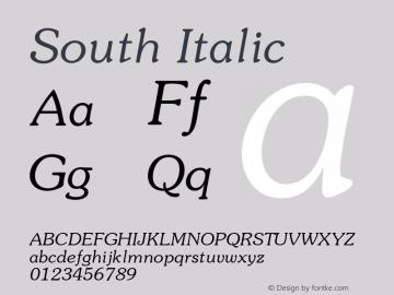 South Italic 1.000 Font Sample