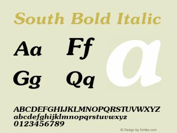 South Bold Italic 1.000 Font Sample