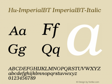 Hu-ImperialBT ImperialBT-Italic Version 001.000图片样张