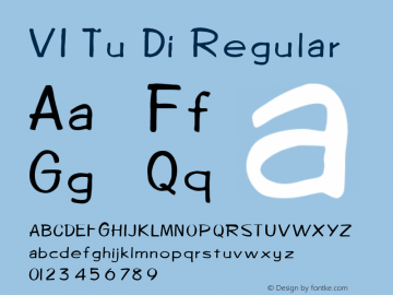 VI Tu Di Regular Unknown Font Sample