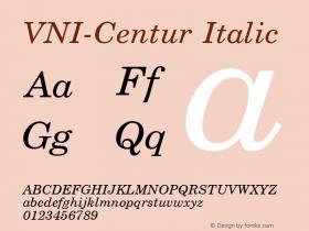VNI-Centur Italic 1.0 Tue Jan 18 11:42:55 1994 Font Sample