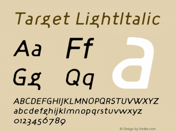 Target LightItalic Version 001.000 Font Sample