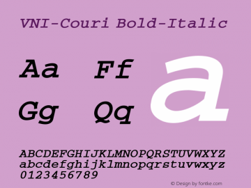 VNI-Couri Bold-Italic 1.0 Tue Jan 18 17:39:05 1994 Font Sample