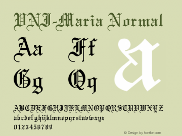 VNI-Maria Normal 1.0 Tue Jan 18 17:48:38 1994 Font Sample