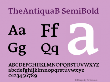 TheAntiquaB SemiBold Version 001.000 Font Sample