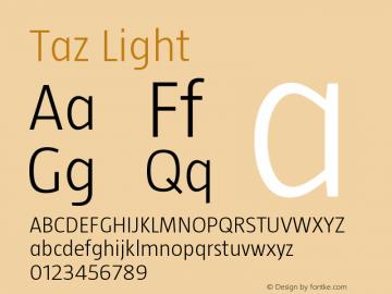 Taz Light Version 001.001 Font Sample