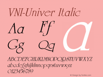 VNI-Univer Italic 1.0 Fri Feb 10 15:17:49 1995 Font Sample