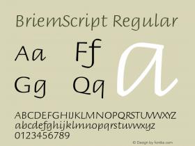 BriemScript Regular Version 1.05 Font Sample
