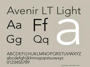 Avenir LT Light Version 006.000 Font Sample