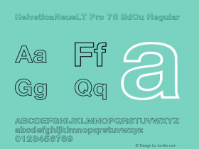 HelveticaNeueLT Pro 75 BdOu Regular Version 1.000;PS 001.000;Core 1.0.38 Font Sample