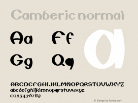 Camberic normal Version 001.003 Font Sample