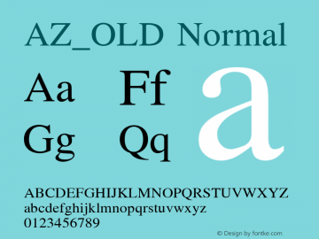 AZ_OLD Normal Unknown Font Sample