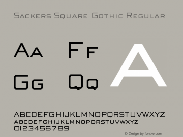 Sackers Square Gothic Regular Version 000.001 Font Sample