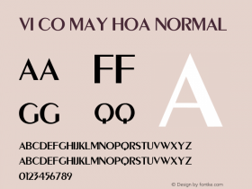 VI Co May Hoa Normal 1.0 Tue Jan 11 10:05:43 1994 Font Sample