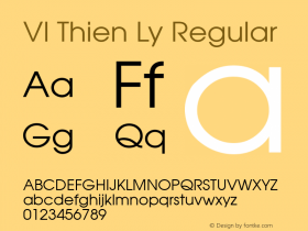 VI Thien Ly Regular 01.04.93 Font Sample