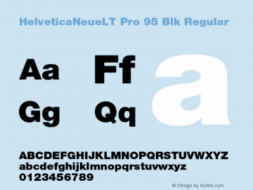 HelveticaNeueLT Pro 95 Blk Regular Version 1.000;PS 001.000;Core 1.0.38 Font Sample