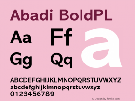 Abadi BoldPL Version 001.000 Font Sample