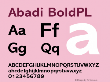 Abadi BoldPL Version 001.000 Font Sample