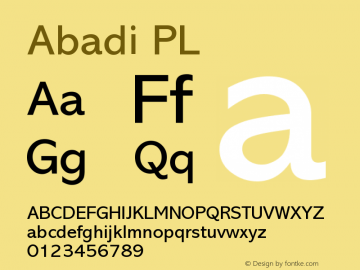 Abadi PL Version 001.000 Font Sample