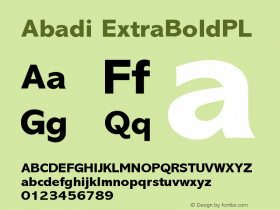 Abadi ExtraBoldPL Version 001.000 Font Sample