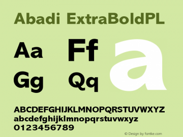 Abadi ExtraBoldPL Version 001.000 Font Sample