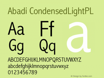 Abadi CondensedLightPL Version 001.000图片样张