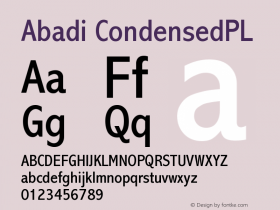 Abadi CondensedPL Version 001.000 Font Sample