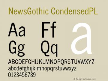 NewsGothic CondensedPL Version 001.000 Font Sample