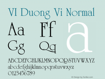 VI Duong Vi Normal 1.0 Tue Jan 11 10:07:22 1994 Font Sample